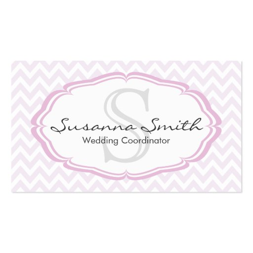 Pink professional card with monograma and chevrón business card templates