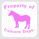 Pink Property Of Unicorn Dept Sticker