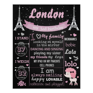 Pink Puddle Paris Birthday Party chalkboard sign