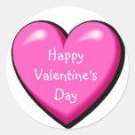 Pink Puffy Heart Round Sticker