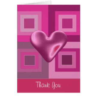 Pink Puffy Heart Thank You Card