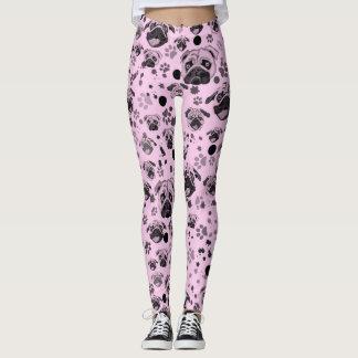 Pink Pug Print Leggings