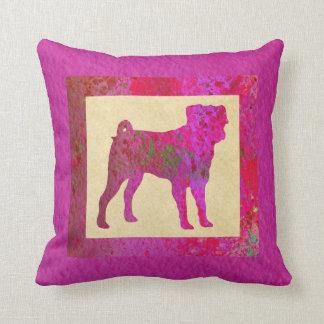Pink Pug Throw Pillow