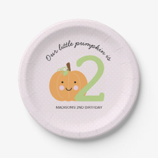 Pink Pumpkin Personalized Birthday 7 Inch Paper Plate