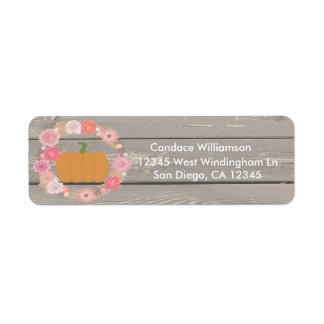 Pink Pumpkin Rustic Floral Return address label