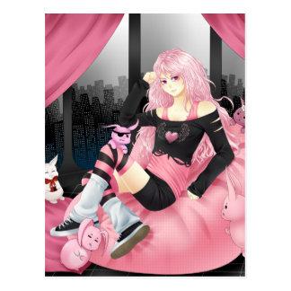 Pink punk anime girl postcard