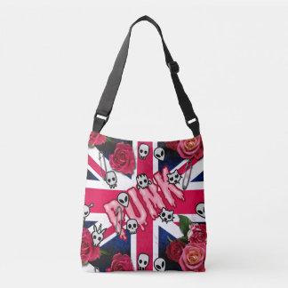 Pink Punk Grunge Union Jack with Emojis and Roses Crossbody Bag