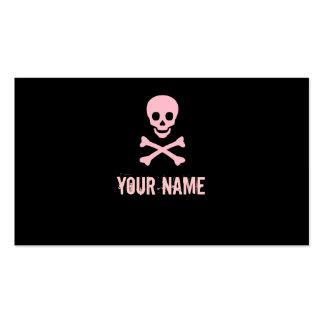 Pink punk skull crossbones customisable cards pack of standard business cards