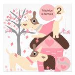 Pink Puppy Dog Custom Birthday Invitations
