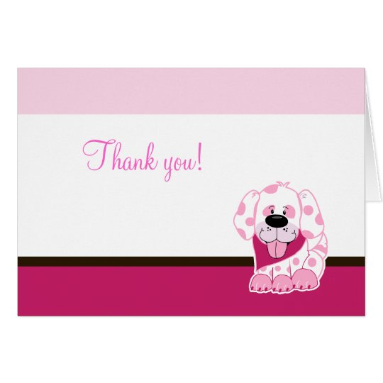 Pink Puppy Dog Folded Thank you note Card
