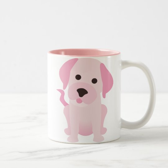 Pink Puppy Dog Two-Tone Coffee Mug