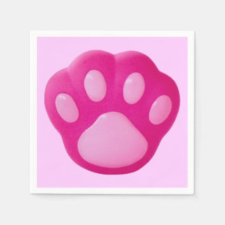 Pink Puppy Paw Disposable Napkins