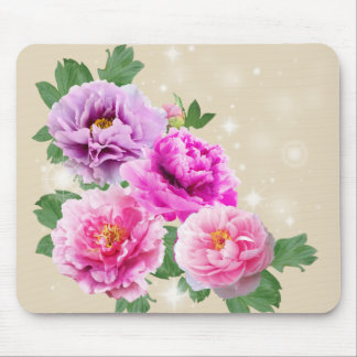 Pink purle flowers peonies mouse mat