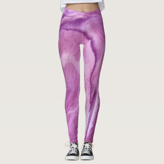 """Pink & Purple Abstract Leggings - """"First Blush"""""""