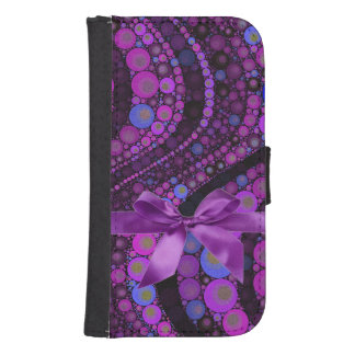 Pink,Purple abstract With Bow Galaxy4 Wallet Case