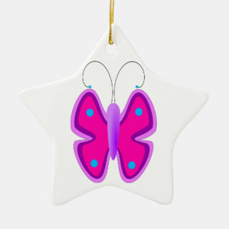 Pink, Purple, and Blue Butterfly Ceramic Star Decoration