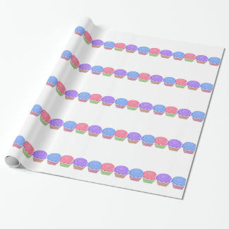 Pink, Purple, and Blue Cupcake Gift Wrapping Paper