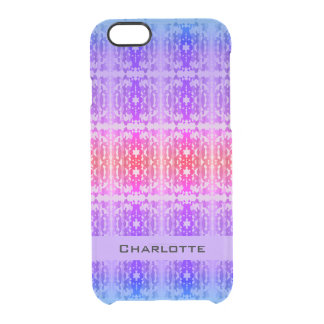 Pink, Purple and Blue Fractal Monogram Clear iPhone 6/6S Case