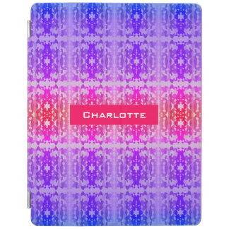Pink, Purple and Blue Fractal Monogram iPad Cover