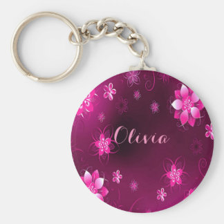 Pink purple and chic floral pattern add name basic round button key ring