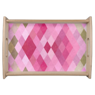 Pink, Purple and Green Diamond Pattern Serving Tray