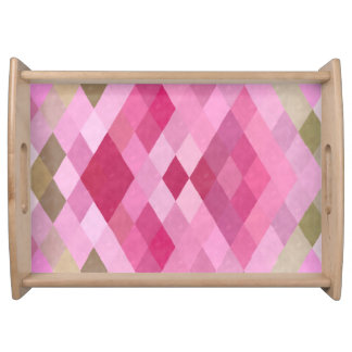 Pink, Purple and Green Diamonds Serving Tray