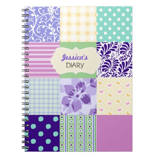 Pink, Purple and Green Personalised Girly Diary Notebooks