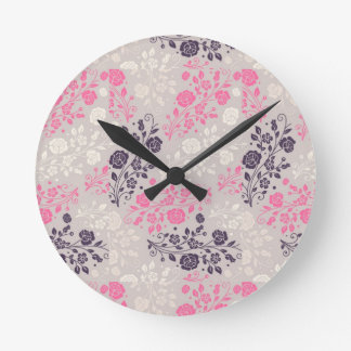PINK PURPLE AND LILAC FLORAL WALL CLOCK