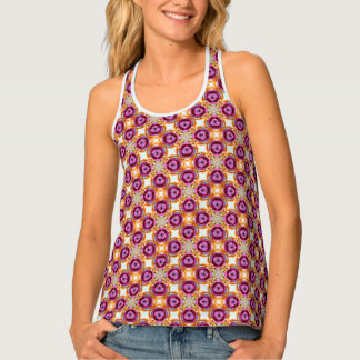 Pink Purple And Orange Mosaic Pattern Tank Top