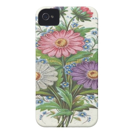 Pink, Purple and White Flowers iPhone 4 Case