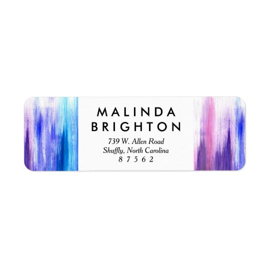 Pink purple aqua paint strokes watercolor painting return address label