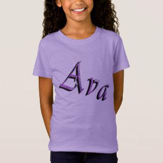 Pink Purple Ava Name Logo, T-Shirt