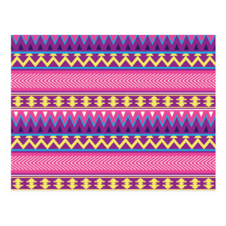 Pink & Purple Aztec Tribal Borders Postcards