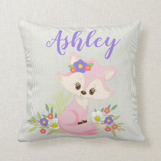 Pink Purple Baby Fox Floral Flower Nature Animal Cushion