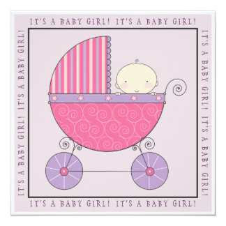 Pink & Purple Baby in Carriage Girl Baby Shower 13 Cm X 13 Cm Square Invitation Card