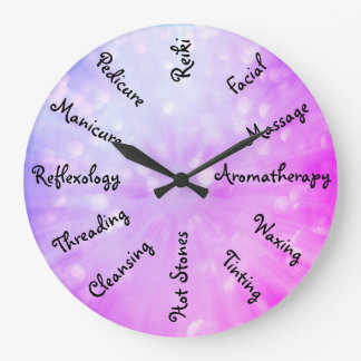Pink / Purple Beauty Therapy design Large Clock