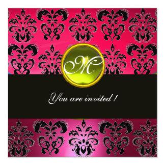 PINK PURPLE BLACK  DAMASK MONOGRAM, yellow topaz 13 Cm X 13 Cm Square Invitation Card