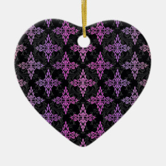 PInk Purple Black Double Damask Christmas Tree Ornament