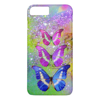 PINK PURPLE BLUE BUTTERFLIES,GREEN GOLD SPARKLES iPhone 8 PLUS/7 PLUS CASE