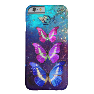PINK PURPLE BLUE BUTTERFLIES IN GOLD SPARKLES BARELY THERE iPhone 6 CASE