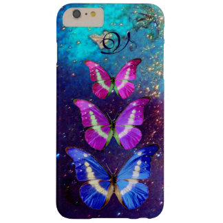 PINK PURPLE BLUE BUTTERFLIES IN GOLD SPARKLES BARELY THERE iPhone 6 PLUS CASE