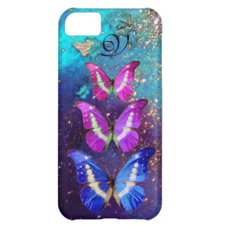 PINK PURPLE BLUE BUTTERFLIES IN GOLD SPARKLES iPhone 5C CASE