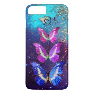 PINK PURPLE BLUE BUTTERFLIES IN GOLD SPARKLES iPhone 8 PLUS/7 PLUS CASE
