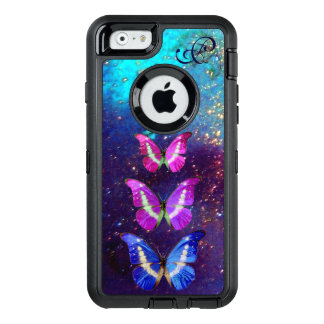 PINK PURPLE BLUE BUTTERFLIES IN GOLD SPARKLES OtterBox DEFENDER iPhone CASE