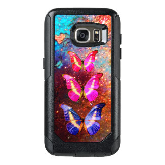 PINK PURPLE BLUE BUTTERFLIES IN GOLD SPARKLES OtterBox SAMSUNG GALAXY S7 CASE