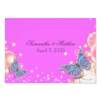 Pink purple blue butterfly wedding 13 cm x 18 cm invitation card