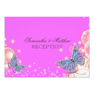 Pink purple blue butterfly wedding reception 13 cm x 18 cm invitation card