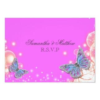 Pink purple blue butterfly wedding rsvp 13 cm x 18 cm invitation card