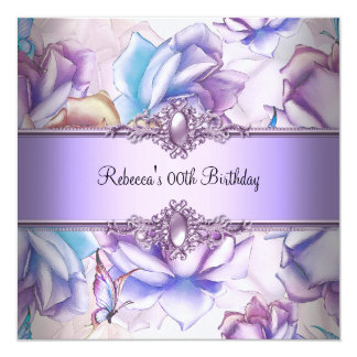 Pink Purple Blue Floral Birthday Party  Image 13 Cm X 13 Cm Square Invitation Card