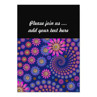 Pink Purple Blue Floral Pattern on Blue 13 Cm X 18 Cm Invitation Card